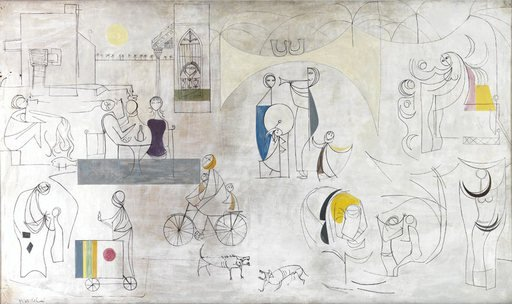 Jewad Selim Baghdadiat 1956 painting of figures in the city on a white and grey background