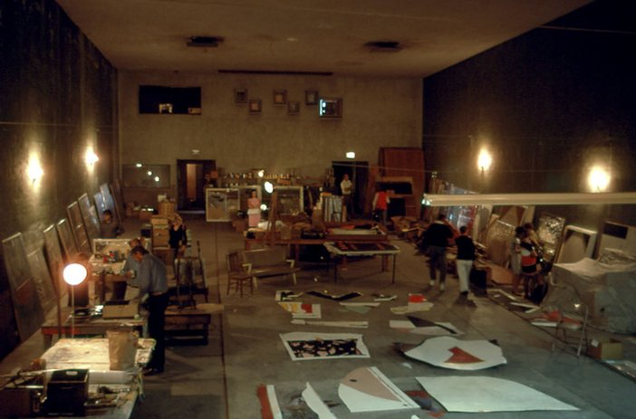 John Baldessari's studio with works gathered together in preparation for Cremation Project 1970