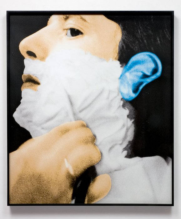 John Baldessari Noses and Ears Etc Part Three Altered Person Being Shaved 2007