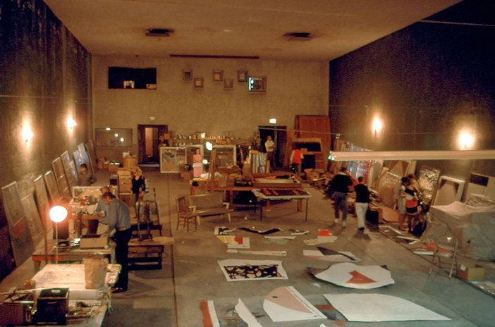 John Baldessari studio with work displayed for the last time before burning in Cremation Project in 1970