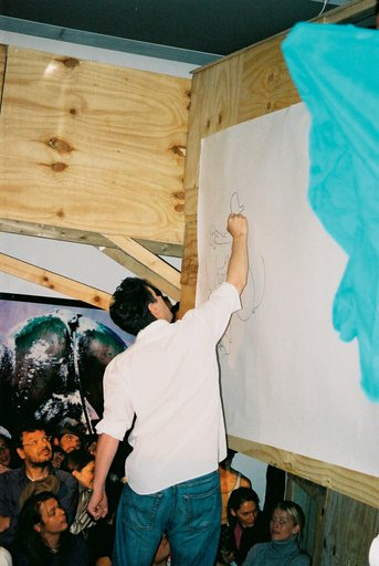 John Block Drawing at the ICA, London as part of Klutterkammer 2004