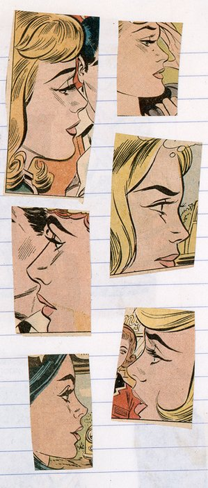 Comic-book cuttings on a page from one of Lichtenstein's notebooks