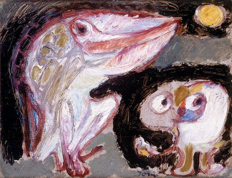 Asger Jorn, Christian Dotremont Un Visage suffit nier le miroir 1948 oil on canvas 29.5 x 21.5 cm