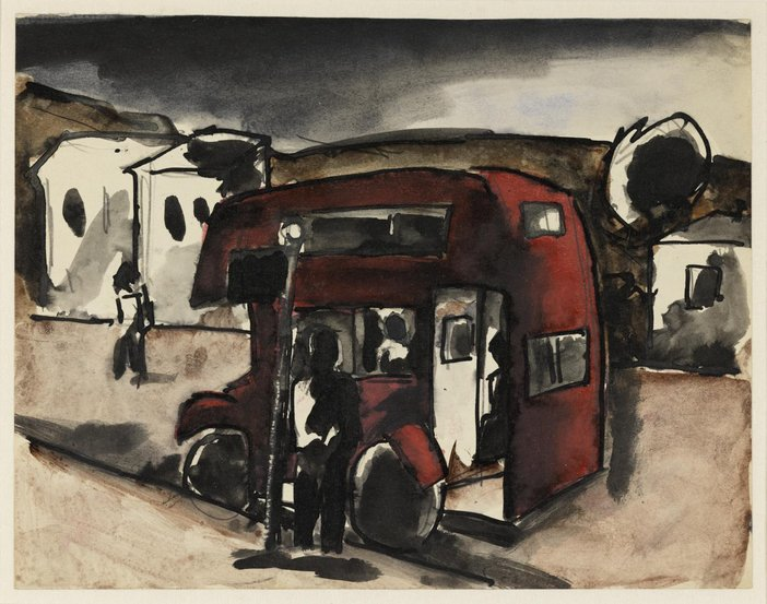 Ink and watercolour colour sketch of a bus at a bus stop
