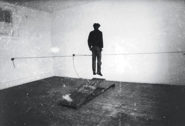 Juan Munoz Performing a piece at PS One New York 1982 one