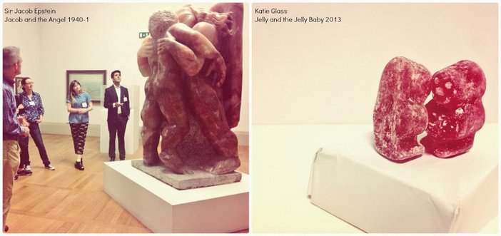 Katie Glass's jelly baby homage to Epstein's Jacob and the Angel