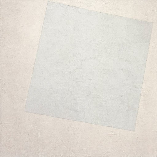 Kazimir Malevich Suprematist Composition White on White 1918 painting of an off set white square on a white square canvas