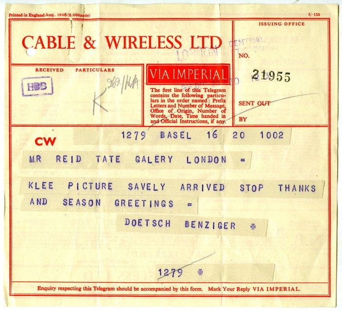 Doetsch Benziger Telegram to Mr Reid Tate Gallery 20 December 1946