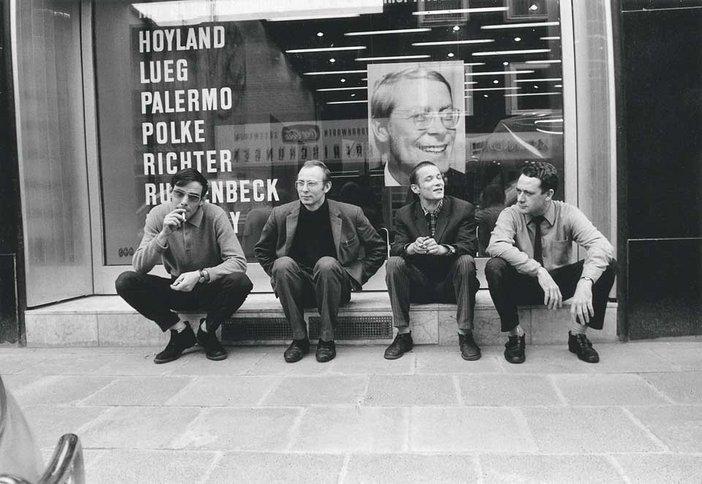 Konrad Lueg, Sigmar Polke, Blinky Palermo and Gerhard Richter in front of Galerie Heiner Friedrich, Cologne 1967