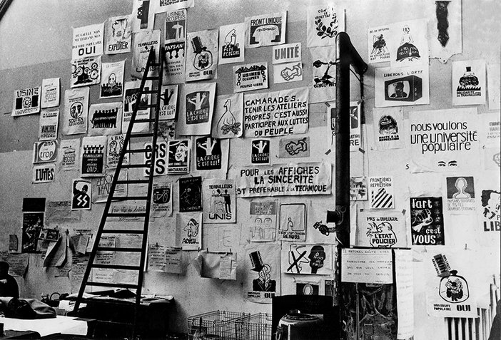 Photograph of the Atelier Populaire studio, 1968