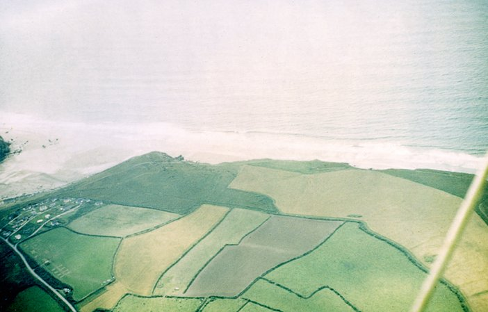 View of Porthtowan beach from a glider, September 1960, photographed by Peter Lanyon