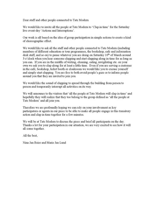Letter from Nina Jan Beier and Marie Jan Lund to members of staff at Tate