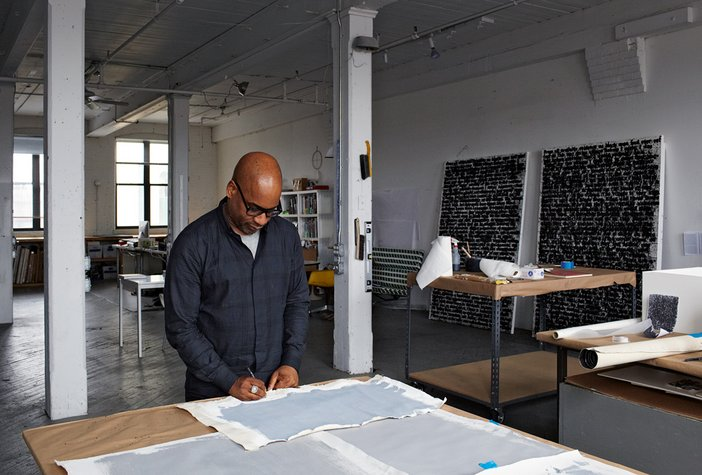 Glenn Ligon in his studio, Brooklyn, New York
