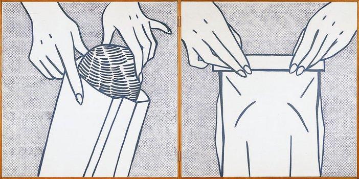 Roy Lichtenstein, Bread in Bag (1961), Oil on canvas, Two panels, 72.4x144.8cm
