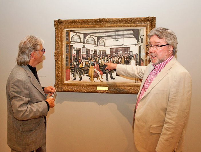 Michael Coleman and Kevin Parrott of the music duo Brian and Michael at the opening reception for Lowry and the Painting of Modern Life at Tate Britain, 25 June 2013