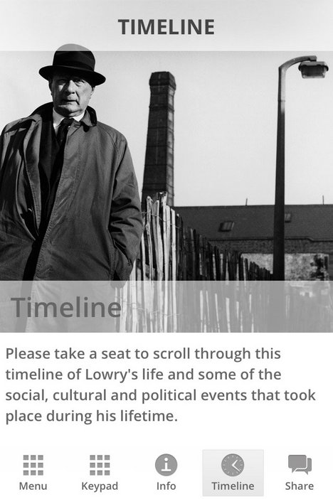 Timeline for the Lowry app produced to accompany the Lowry and the Painting of Modern Life exhibition at Tate Modern