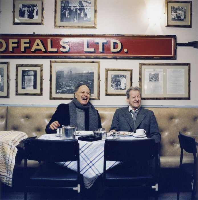 Kevin Davies' photo of Lucian Freud & Frank Auerbach in the Cock Tavern in Smithfield, 2002