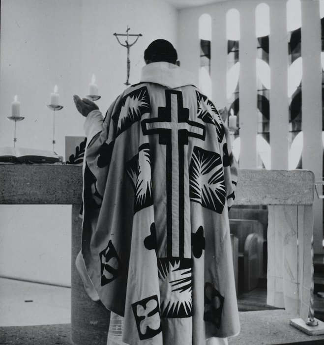 A Matisse-designed chasubles being worn at the Vence Chapel