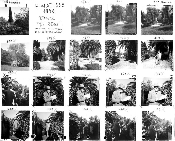 Contact sheet with photographs taken by Hélène Adant of Matisse at the Villa le Reve