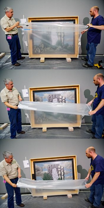 Magritte building the exhibition unwrapping The Annunciation