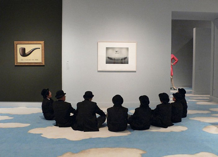 Security guards at the opening of Magritte and Contemporary Art.