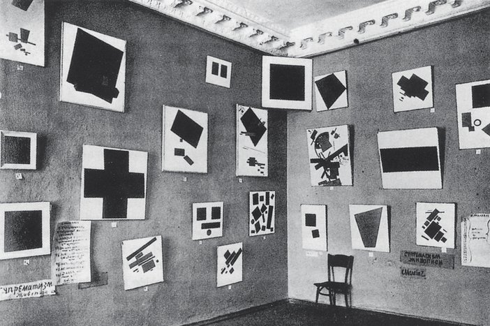 Photograph of work by Malevich in The Last Futurist Exhibition '0.10', Petrograd, 1915