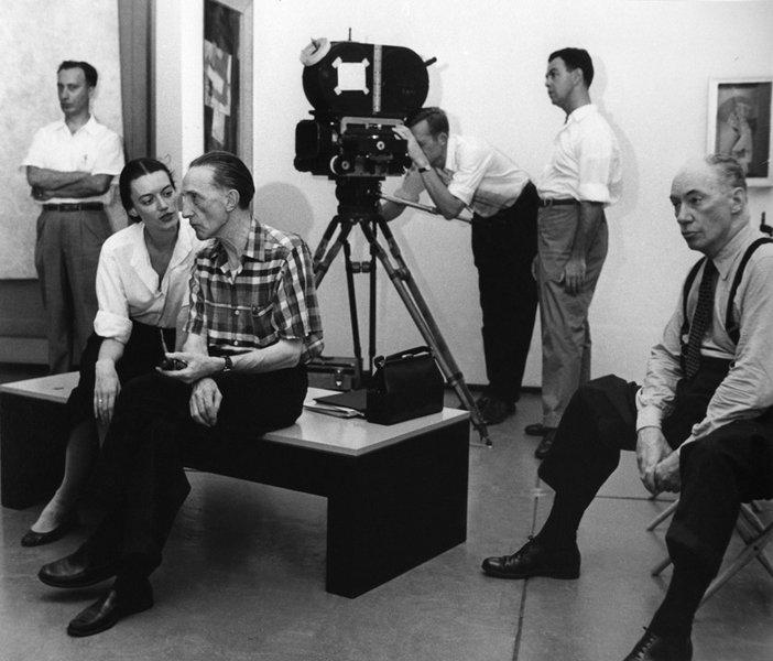 Marcel Duchamp in conversation with Beatrice Cunningham in the Philadelphia Museum of Art 1955