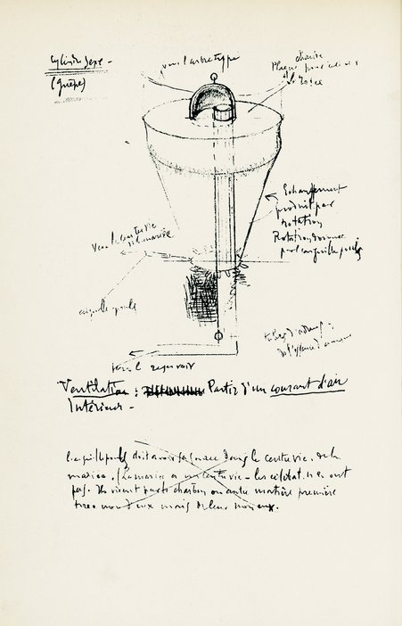 Facsimile of one of four drawings by Duchamp done in Herne Bay, called Wasp, or Sex Cylinder 1913