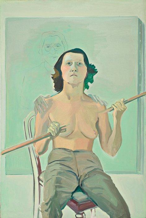 Maria Lassnig, Self-Portrait with Stick, 1971