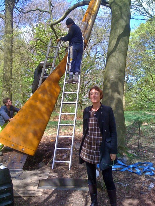 Cornelia Parker installing Landscape With Gun and Tree at Jupiter Artland, Edinburgh