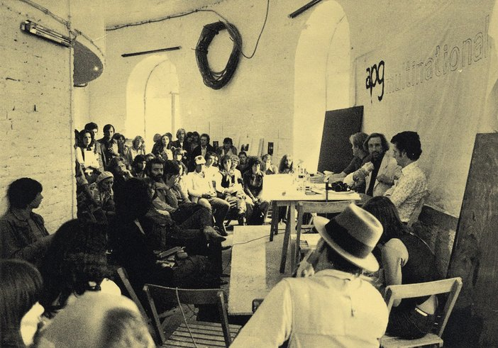 Meeting of Artists Placement Group led by John Latham and Joseph Beuys at documenta six Kassel 1977