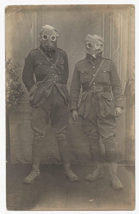 Soldiers in gas masks, c1915