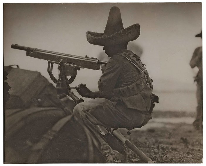 Rebel machine gunner, second Battle of Torreon, Mexican Revolution, April 1914