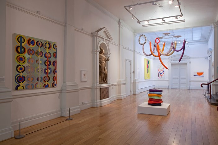 Installation view of the 'Colour Play' room at the exhibition Terry Frost, Leeds Art Gallery