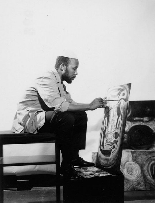 The Artist in his Studio 1964–5 - b/w photograph of Ibrahim El-Salahi