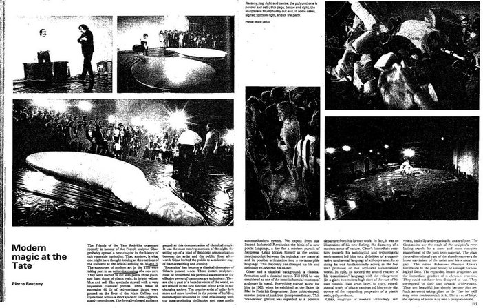 Pierre Restany, 'Modern Magic at the Tate', Studio International, June 1968, vol.175, no.901, pp.332–3.