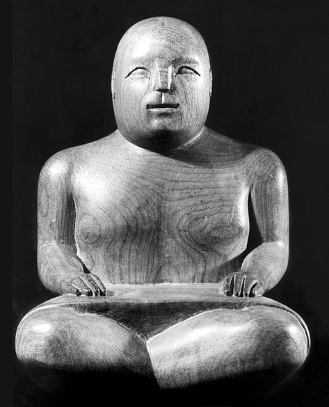 Ronald Moody Seated Sarong Figure 1938 beech, 27 x 18 x 14 cm