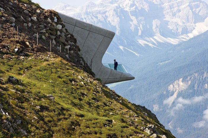 The Messner Mountain Museum Corones, South Tyrol, Italy, designed by Zaha Hadid and opened in 2015
