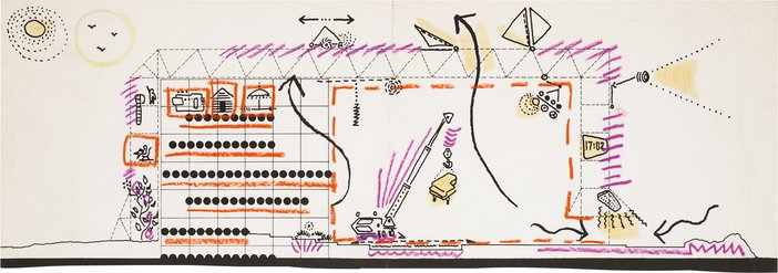 Cedric Price, Fun Palace: Section showing potential use of interior spaces, c1963