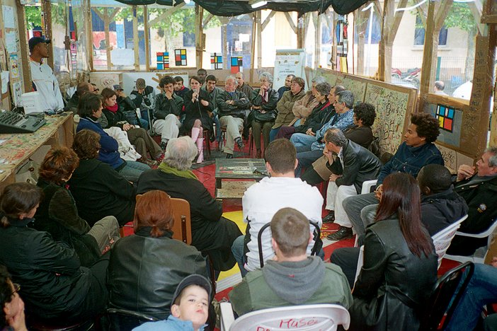 'Jews/Arabs' debate hosted by Leïla Shadid during Piet Mondrian week at Thomas Hirschhorn's Musée Précaire Albinet, 7 May 2004