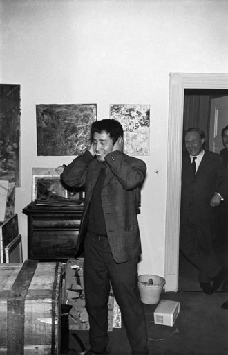Nam June Paik during his Exposition of Music Electronic Television 1963 Galerie Parnass Wuppertal