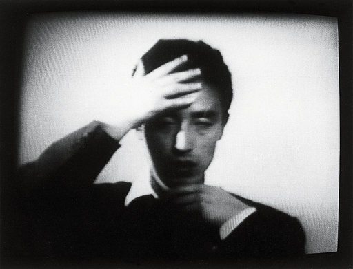 Video still from Nam June Paiks contribution to Karl Stockhausens Originale performances filmed by Wolfgang Ramsbott 1961