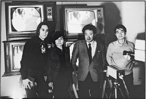 John Lennon Yoko Ono Nam June Paik and Shuya Abe at the Galeria Bonino New York 23 November 1971