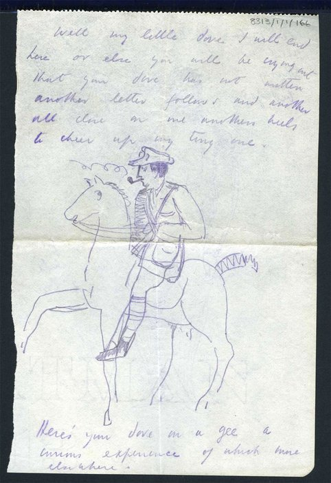 Incomplete illustrated letter from Paul Nash to his wife, Margaret, 1917