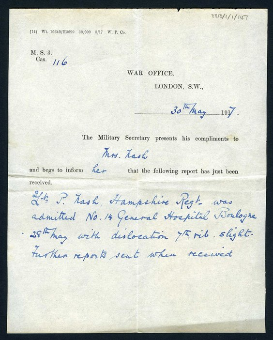 Note of accident from War Office to Margaret Nash concerning Paul's injury while on active service in France