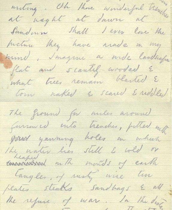 Extract from letter from Paul Nash to his wife, Margaret, describing the landscape around him