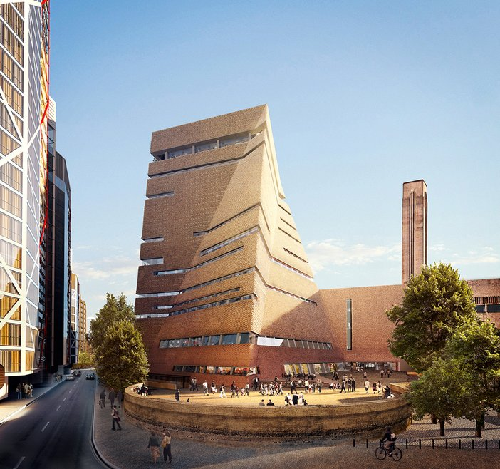 An architectural concept view of the new Tate Modern building during the day