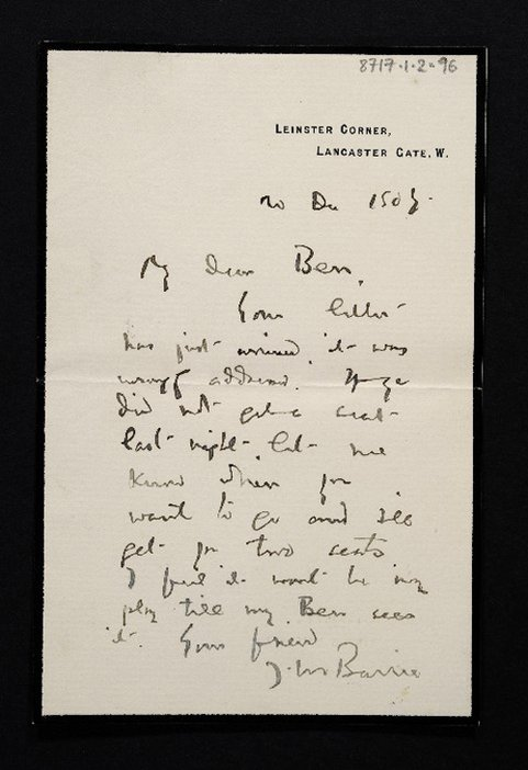 Letter by J.M. Barrie