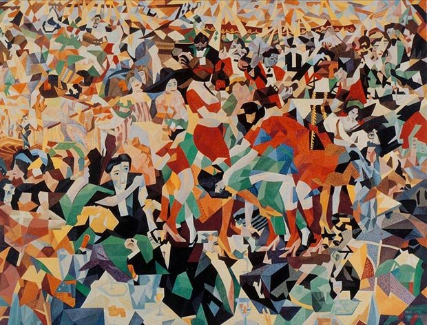 "Gino Severini The Dance of the Pan-Pan at the ""Monico"" 1909-1911 / 1959-1960 A crowd of abstracted figures"