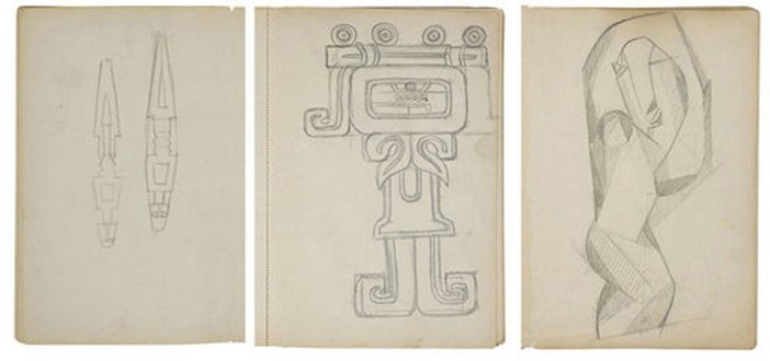 Henri Gaudier-Brzeska Chenil Sketchbook c.1913–14 three pages